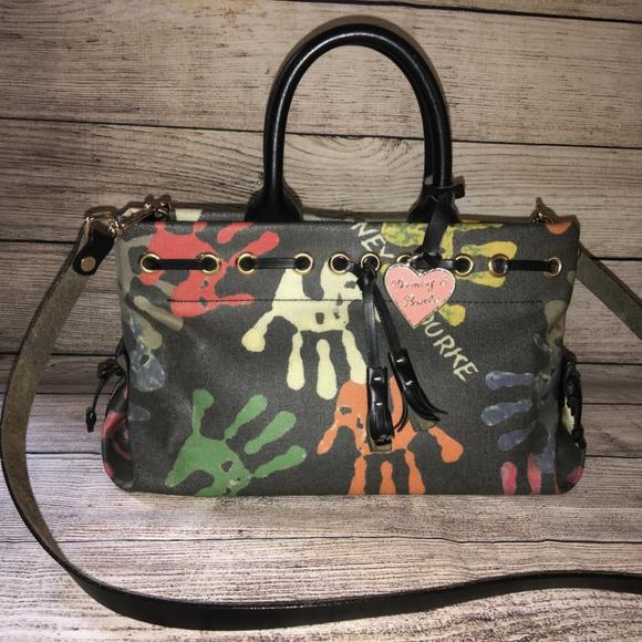 Dooney   Bourke Bags   Dooney Bourke Crayon Handprints Tassel Tote ... 26243ffa16